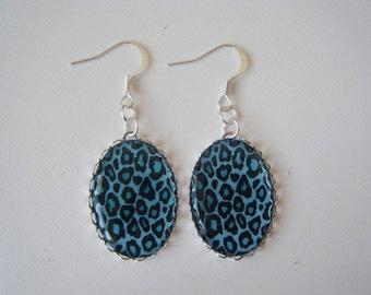 Earrings turquoise blue leopard