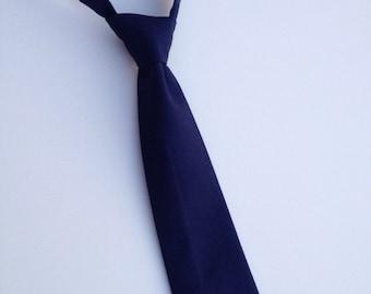 Boys Neck Tie, Navy Blue Necktie, Infant Tie, Toddler Neck Tie, Baby Neck Tie