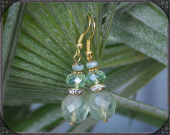 Light green and gold coloured Earrings