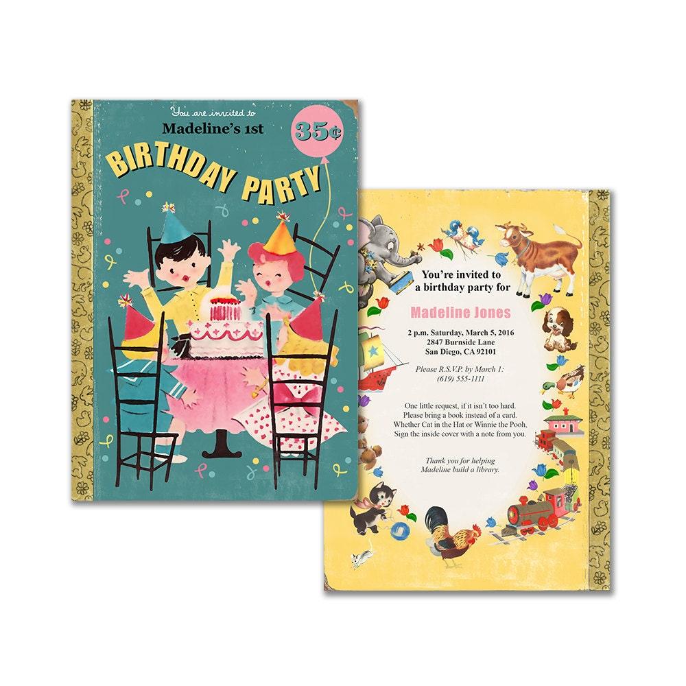 Book theme birthday invitation printable birthday party zoom monicamarmolfo Image collections