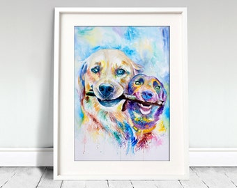 Watercolor Print. Pure love. Two dogs and a stick. Friends. Labrador