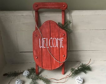 Sled Welcome Sign | Farmhouse Christmas Sled | Rustic Christmas Sled | Vintage Hand Painted Distressed Wooden Sled | Country Christmas Decor