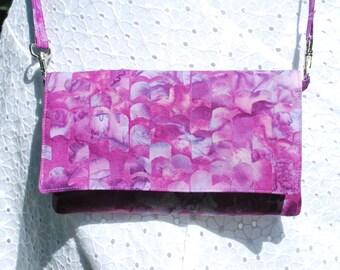 iPhone X 8/8Plus Android Cell Phone Purse Cross Body Shoulder Bags Zipper Pocket Deep Rose Batik