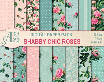 Digital Shabby Chic Pink Roses Paper Pack, 16 printable Seamless Scrapbooking papers, retro roses Digital Collage, Instant Download, set 151