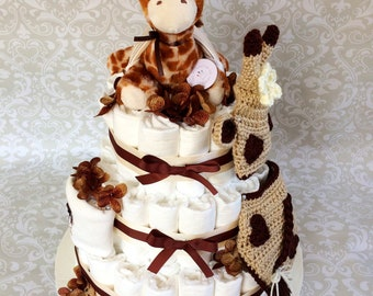 Baby Boy or Girl 3 tier Giraffe Diaper cake - an adorable diaper baby shower gift - made to order