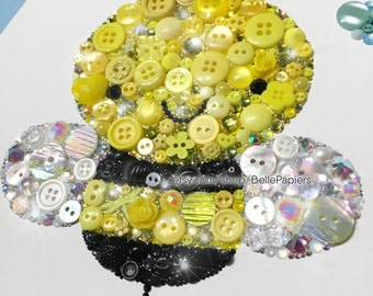 Cute Bumble Bee Decorations Button Art Bee Nursery Bees Swarovski Gender Neutral Nursery Honey Bee Wall Art Nursery Bugs Black and Yellow