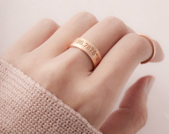 Coordinates Gift - Personalized Coordinates Ring - Custom Coordinates Jewelry - Adjustable Ring - Anniversary Gift For Women - Location Ring