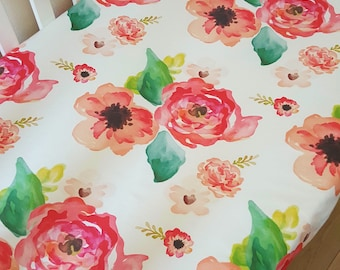 Floral Dreams fitted crib sheet. Baby cot sheet, nursery baby bedding. Floral cot sheet. Girls baby bedding. Summer Roses.