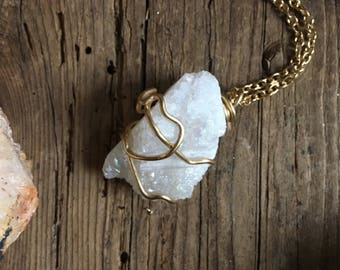 White druzy stone crystal wire wrapped necklace gold chain