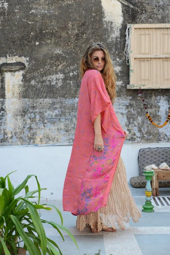 DUSTY PINK KIMONO - Full length - Beach Cover Up - Cardigan - Summer - Gold - Kaftan - Maxi Dress - Silk Jacket - 70's Fashion - Festival