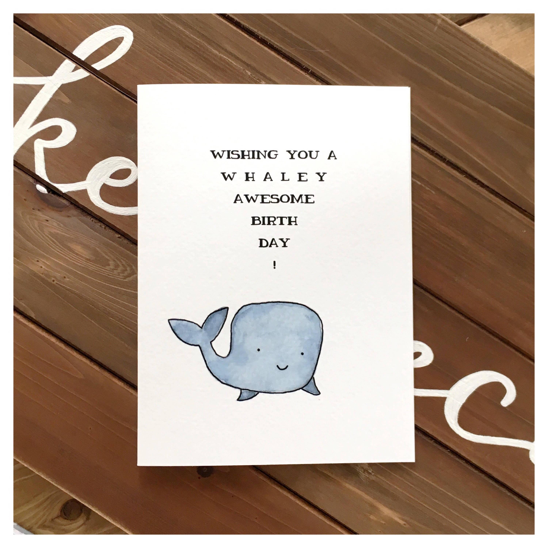 Whale Birthday Card Cute Pun