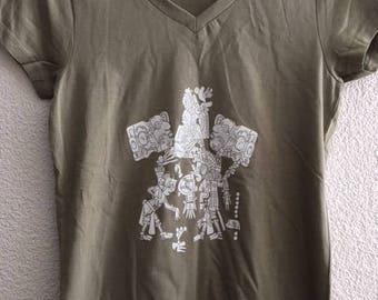 Maya women t-shirt. Cotton, screenprint. Size S