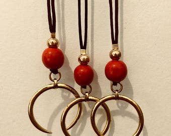 Long Golden Crescent and coral necklace