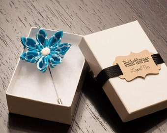Turquoise and White Clematis Flower Lapel Pin