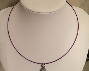 Crew neck clasp covered pretty Amethyst gem stone