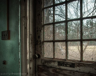 Keep door locked, Abandoned Asylum Old building, Fine Art Color Photograph, Creepy Places, Beauty of decay, signed Print