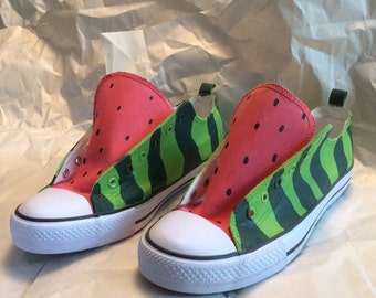 Watermelon Canvas Shoes - Original Design and Hand Painted