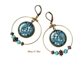 Creole earrings Sakura stain bronze anniversary Christmas costume jewelry