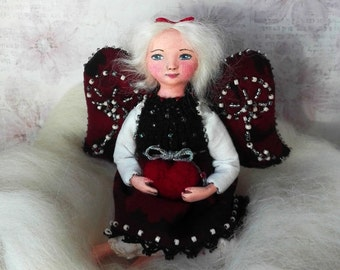Tiny doll, handmade Valentines gift, angel doll Avery, art OOAK dolls, special gift for her, baby doll figurine, love - 3 inch