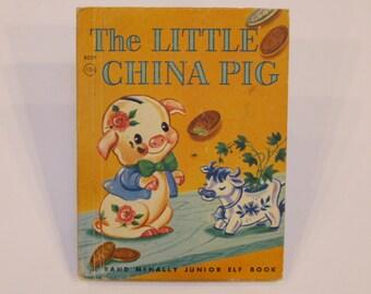 The LITTLE CHINA PIG  Pinky piggy coin bank vintage Rand Mcnally Jr Elf Junior Dorothy Rawls Vivienne Blake hb 1960 Nice!!