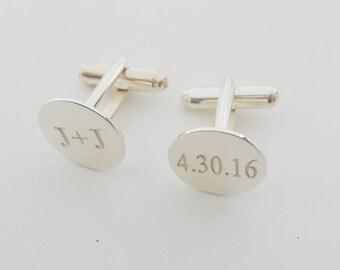 Personalized Wedding Cuff links,Wedding Date Cufflinks,Silver Initials and Date Cufflinks,Engraved Cuff links for Groom,Cuff links for Men