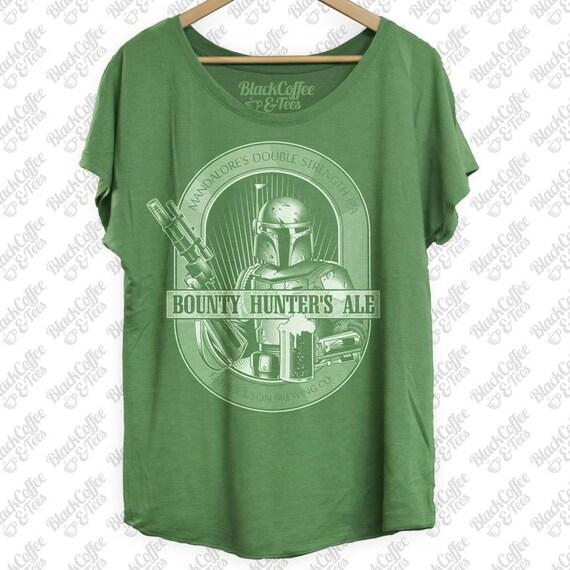 St Patricks Day Shirt -Star Wars Beer Shirt -Womens Boba Fett Bounty Hunter Ale Hand Screen Printed on a Womens Green Dolman-St Pattys Day