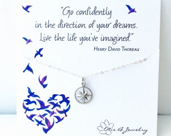 Graduation gift for her, Go confidently in the direction of your dreams, compass necklace, college graduation, briguysgirls, otis b jewelry