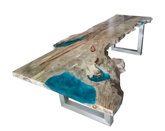 River Resin Live Edge Table (1 of 2). Absolutely stunning, the most unique table available today? SEE DETAILS below. 280 x 110/75 x 78