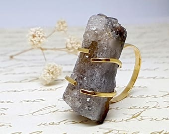 Raw Gold Gemstone Ring, Natural Druzy Ring, Handmade Designer Ring, All Ring Size, Gold Crystal Stone Ring, Large Gemstone Statement Ring