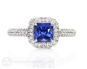 Blue Sapphire Engagement Ring Pave Diamond Halo Sapphire Ring Custom Bridal Jewelry