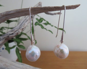 Large white round Pearl earrings