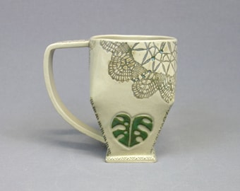 Monstera Leaf and Lace Mug - Handbuilt Geometric Stoneware Coffee Cup with Handle - Green Tropical Leaf Motif and Vintage Doily Mug