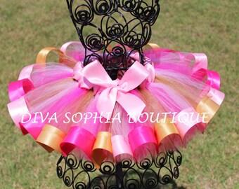 Gold, Pink and Hot Pink Ribbon Tutu