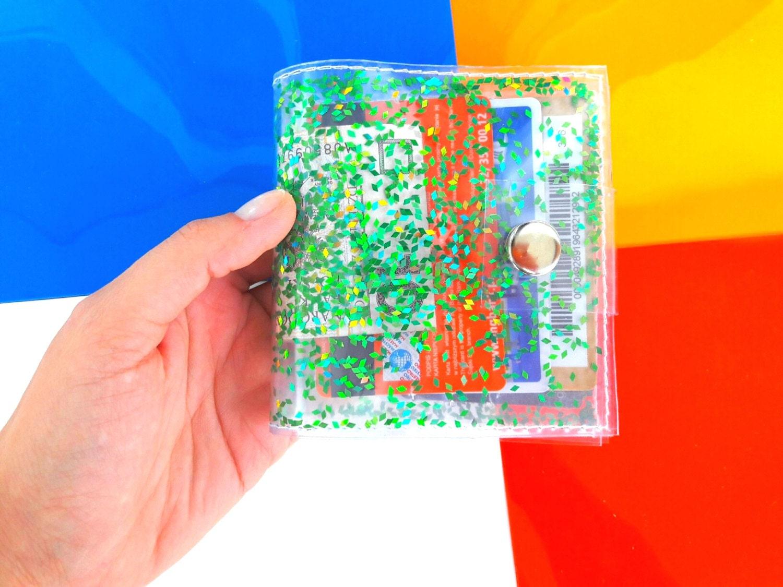 Green wallet Iridescent Glitter wallet Business Card Holder Gift ...