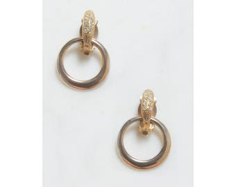 Gold Hoop Earrings . Rhinestone Earrings . 1980s Jewelry . Clip On