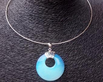 Torque, synthesis opaline pendant Choker necklace / opalite