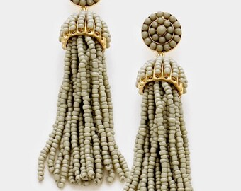 Beaded Tassel Earrings Gray