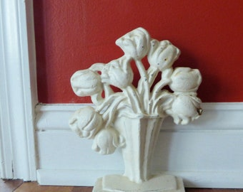 Vintage Cast Iron Doorstop Door Stop Vase of White Roses 8 1/2""