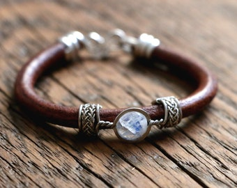 Leather gemstone bracelet with filigree detail. Various stones/materials available