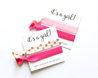 Baby Shower Personalized Hair Tie Favors | It's a Girl Hair Ties | It's a Girl | Baby Shower Favor | Baby Shower Gift | Baby Shower Decor