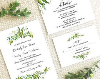 Greenery Wedding Invitation Suite,Wedding Suite with Greenery,Greenery and leaves wedding invitation suite,Watercolor greenery wedding suite