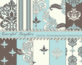 Scrapbook Paper Pack Digital Scrapbooking Background Papers 10 Sheets 8.5 x 11  Blue Brown White Neoclassical 1300gg