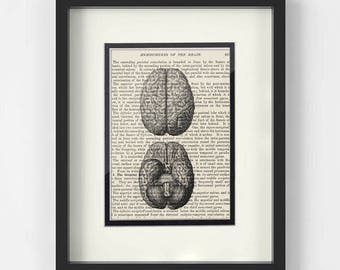 Brain Art over Vintage Medical Book Page - Gift for Neurologist, Neurologist Gift, Neuro Nurse, Neuroscience, Neurosurgeon