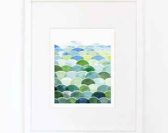 Blue and Green Field and Sky - Watercolor Art Print