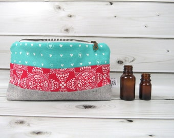 Essential Oil Case - TEAL RED HEART - cosmetic bag zipper pouch essential oil bag clutch