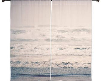 Sheer Curtains - Home Decor, Beach, Ocean, Waves, nature photography by RDelean Designs