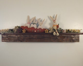 """1156 - 68""""W x 9""""D x 7.5""""H reclaimed floating wood shelf / fireplace mantel, solid Pine, distressed, smooth top, old growth"""