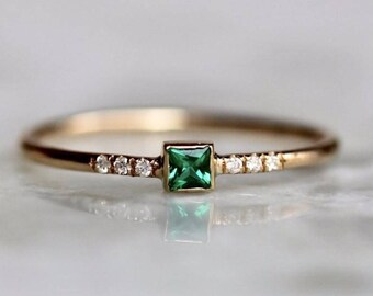 "14K Emerald Diamond Ring, ""Emerald Creek"" Ring, Princess Cut, Square Cut, Chatham Emerald, Green Stone, Pave Setting, Solid Gold, Minimal"