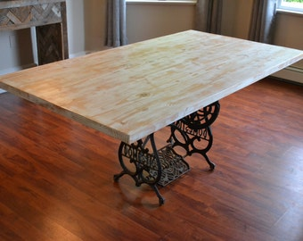 Kitchen Table With Antique Sewing Machine Base, Reclaimed Wood Table, White Washed Table, Dining Table, Free Shipping