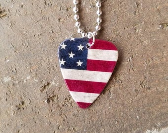 American Flag red white blue patriotic country guitar pick Necklace Fourth of July Rustic silver call chain americana jewelry military gift